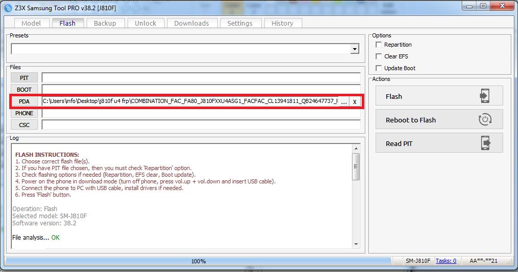 حذف frp  لهاتف  samsung j810f 9.0 benary 4 (u4) مع حماية rmm prenormale