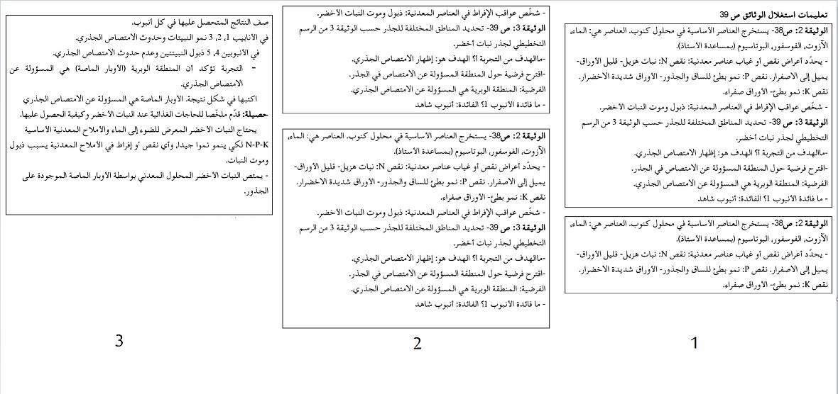 حل تعليمات صفحة 39 علوم طبيعية للسنة الأولى متوسط الجيل الثاني